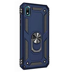 Custodia Silicone e Plastica Opaca Cover con Magnetico Anello Supporto per Huawei Honor Play 8 Blu