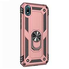 Custodia Silicone e Plastica Opaca Cover con Magnetico Anello Supporto per Huawei Honor Play 8 Oro Rosa