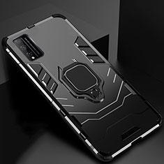 Custodia Silicone e Plastica Opaca Cover con Magnetico Anello Supporto per Huawei Honor Play4T Pro Nero