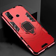 Custodia Silicone e Plastica Opaca Cover con Magnetico Anello Supporto per Huawei Honor Play4T Rosso