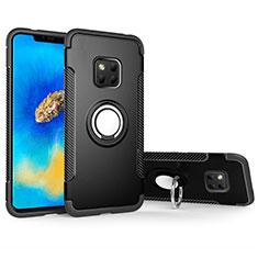 Custodia Silicone e Plastica Opaca Cover con Magnetico Anello Supporto per Huawei Mate 20 Pro Nero