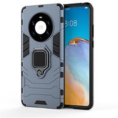 Custodia Silicone e Plastica Opaca Cover con Magnetico Anello Supporto per Huawei Mate 40 Pro+ Plus Blu