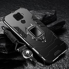 Custodia Silicone e Plastica Opaca Cover con Magnetico Anello Supporto per Huawei Nova 5i Pro Nero
