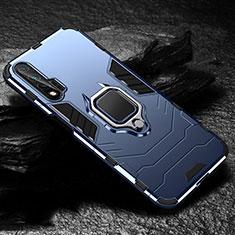 Custodia Silicone e Plastica Opaca Cover con Magnetico Anello Supporto per Huawei Nova 6 5G Blu