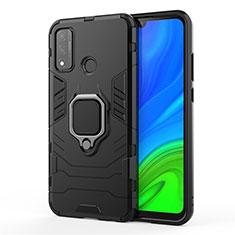 Custodia Silicone e Plastica Opaca Cover con Magnetico Anello Supporto per Huawei P Smart (2020) Nero