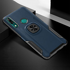 Custodia Silicone e Plastica Opaca Cover con Magnetico Anello Supporto per Huawei P Smart Z Blu