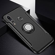 Custodia Silicone e Plastica Opaca Cover con Magnetico Anello Supporto per Huawei P30 Lite Nero