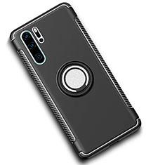 Custodia Silicone e Plastica Opaca Cover con Magnetico Anello Supporto per Huawei P30 Pro Nero