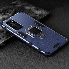 Custodia Silicone e Plastica Opaca Cover con Magnetico Anello Supporto per Huawei P40 Blu