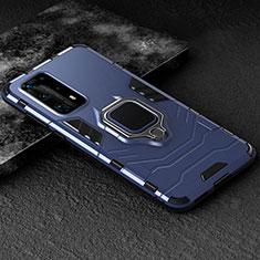 Custodia Silicone e Plastica Opaca Cover con Magnetico Anello Supporto per Huawei P40 Pro+ Plus Blu