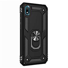 Custodia Silicone e Plastica Opaca Cover con Magnetico Anello Supporto per Huawei Y5 (2019) Nero