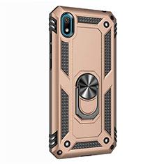 Custodia Silicone e Plastica Opaca Cover con Magnetico Anello Supporto per Huawei Y5 (2019) Oro