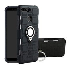 Custodia Silicone e Plastica Opaca Cover con Magnetico Anello Supporto per Huawei Y6 (2018) Nero