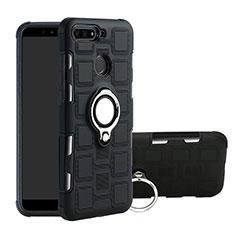 Custodia Silicone e Plastica Opaca Cover con Magnetico Anello Supporto per Huawei Y6 Prime (2018) Nero