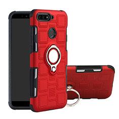 Custodia Silicone e Plastica Opaca Cover con Magnetico Anello Supporto per Huawei Y6 Prime (2018) Rosso
