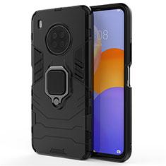 Custodia Silicone e Plastica Opaca Cover con Magnetico Anello Supporto per Huawei Y9a Nero