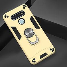 Custodia Silicone e Plastica Opaca Cover con Magnetico Anello Supporto per LG K51 Oro