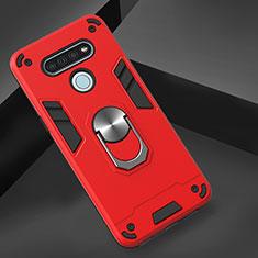 Custodia Silicone e Plastica Opaca Cover con Magnetico Anello Supporto per LG K51 Rosso