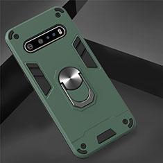 Custodia Silicone e Plastica Opaca Cover con Magnetico Anello Supporto per LG V60 ThinQ 5G Verde
