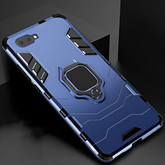 Custodia Silicone e Plastica Opaca Cover con Magnetico Anello Supporto per Oppo A12e Blu