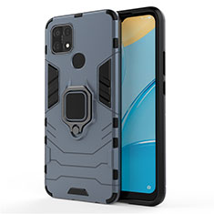Custodia Silicone e Plastica Opaca Cover con Magnetico Anello Supporto per Oppo A15 Blu