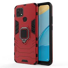 Custodia Silicone e Plastica Opaca Cover con Magnetico Anello Supporto per Oppo A15 Rosso