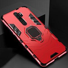 Custodia Silicone e Plastica Opaca Cover con Magnetico Anello Supporto per Oppo A9 (2020) Rosso