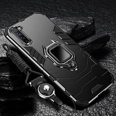 Custodia Silicone e Plastica Opaca Cover con Magnetico Anello Supporto per Oppo Reno3 Nero