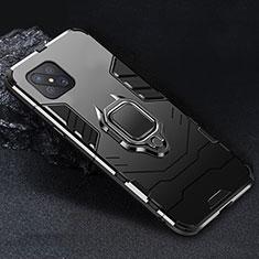 Custodia Silicone e Plastica Opaca Cover con Magnetico Anello Supporto per Oppo Reno4 Z 5G Nero