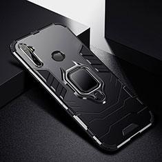 Custodia Silicone e Plastica Opaca Cover con Magnetico Anello Supporto per Realme 5 Pro Nero