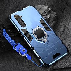 Custodia Silicone e Plastica Opaca Cover con Magnetico Anello Supporto per Realme 6s Blu