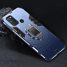 Custodia Silicone e Plastica Opaca Cover con Magnetico Anello Supporto per Realme C17 Blu