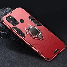 Custodia Silicone e Plastica Opaca Cover con Magnetico Anello Supporto per Realme C17 Rosso