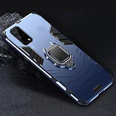 Custodia Silicone e Plastica Opaca Cover con Magnetico Anello Supporto per Realme V5 5G Blu