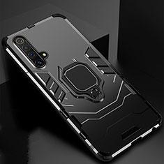 Custodia Silicone e Plastica Opaca Cover con Magnetico Anello Supporto per Realme X3 Nero