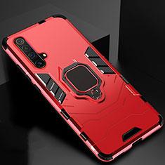 Custodia Silicone e Plastica Opaca Cover con Magnetico Anello Supporto per Realme X3 Rosso