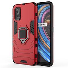Custodia Silicone e Plastica Opaca Cover con Magnetico Anello Supporto per Realme X7 5G Rosso