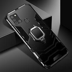 Custodia Silicone e Plastica Opaca Cover con Magnetico Anello Supporto per Samsung Galaxy A21s Nero