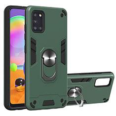 Custodia Silicone e Plastica Opaca Cover con Magnetico Anello Supporto per Samsung Galaxy A31 Verde