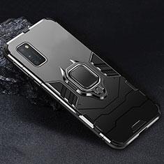 Custodia Silicone e Plastica Opaca Cover con Magnetico Anello Supporto per Samsung Galaxy A41 Nero