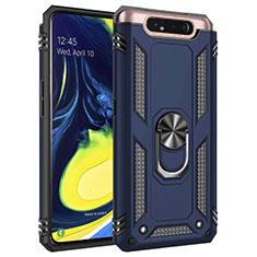 Custodia Silicone e Plastica Opaca Cover con Magnetico Anello Supporto per Samsung Galaxy A80 Blu