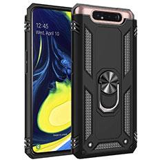 Custodia Silicone e Plastica Opaca Cover con Magnetico Anello Supporto per Samsung Galaxy A80 Nero