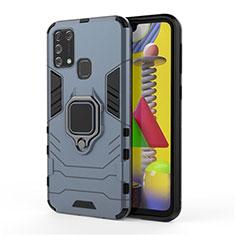 Custodia Silicone e Plastica Opaca Cover con Magnetico Anello Supporto per Samsung Galaxy M21s Blu