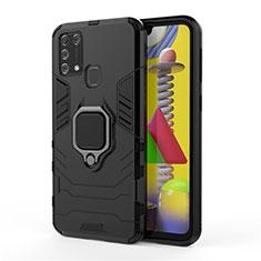 Custodia Silicone e Plastica Opaca Cover con Magnetico Anello Supporto per Samsung Galaxy M21s Nero