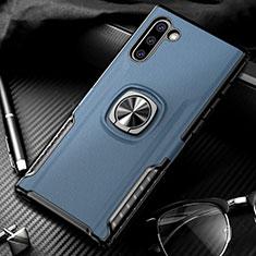 Custodia Silicone e Plastica Opaca Cover con Magnetico Anello Supporto per Samsung Galaxy Note 10 Blu