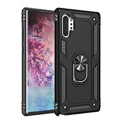 Custodia Silicone e Plastica Opaca Cover con Magnetico Anello Supporto per Samsung Galaxy Note 10 Plus 5G Nero