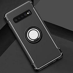 Custodia Silicone e Plastica Opaca Cover con Magnetico Anello Supporto per Samsung Galaxy S10 5G Nero