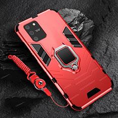 Custodia Silicone e Plastica Opaca Cover con Magnetico Anello Supporto per Samsung Galaxy S10 Lite Rosso