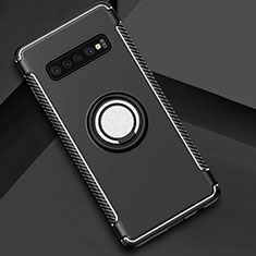Custodia Silicone e Plastica Opaca Cover con Magnetico Anello Supporto per Samsung Galaxy S10 Nero