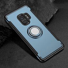 Custodia Silicone e Plastica Opaca Cover con Magnetico Anello Supporto per Samsung Galaxy S9 Blu
